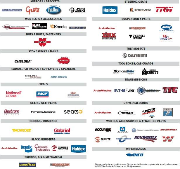 Wheeling Truck Center Vendor Parts List 2